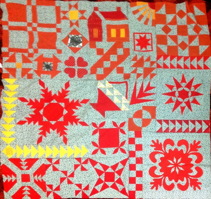 Section A of justtakes2 quilt - first quarter of the quilt finished!
