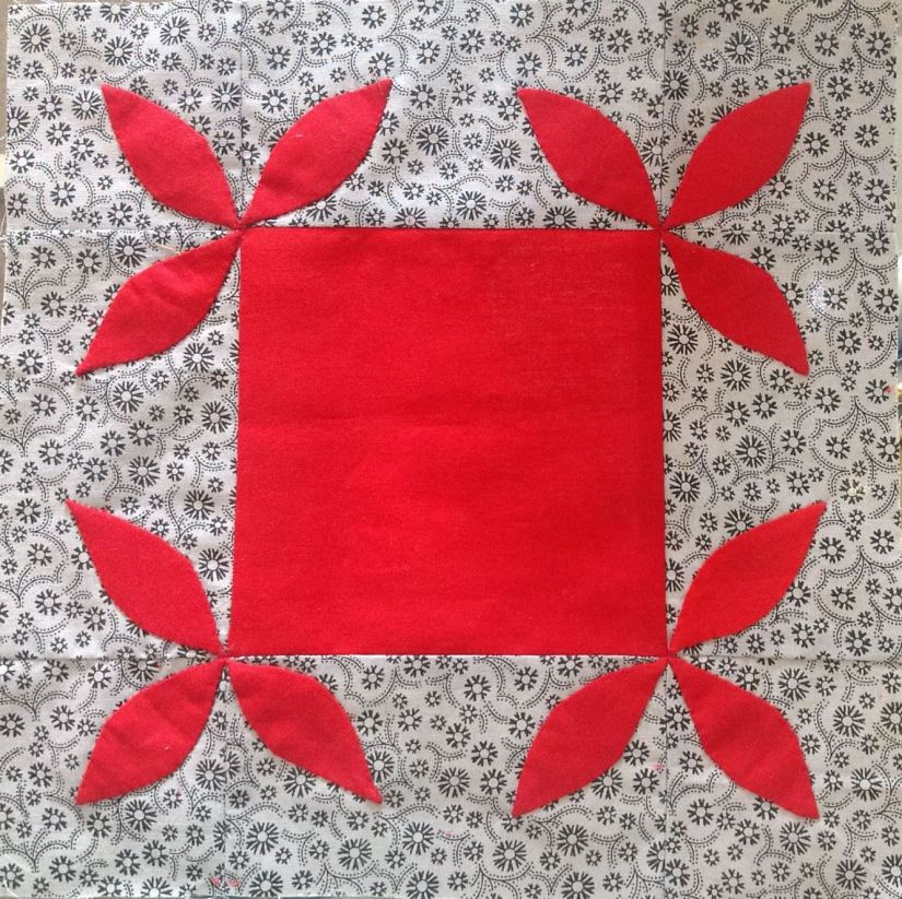 just takes 2 hand appliqued quilt block