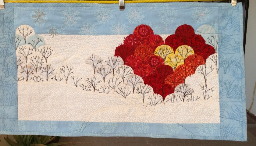 """Small Quilted wall hanging 25"""" X13"""" English Paper pieced clamshells, appliqued, machine free motion quilted. Flannel batting"""