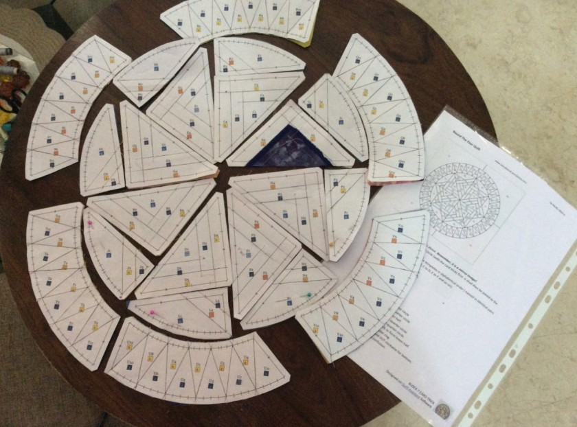 Lay out the pieced templates using the master template as guide