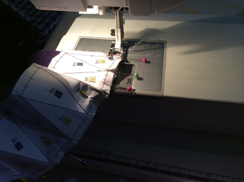 It is cumbersome to stitch a curved seam with the paper attached