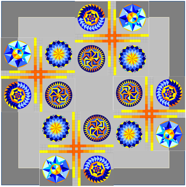 Layout Option 3 - inspired by the Chopsticks Quilt by oneworldfabrics.com