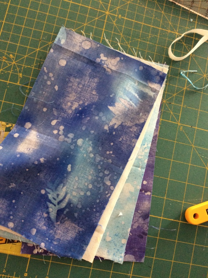 """My four shades of blue - 6"""" x 10"""" each - starched, pressed and ready to cut!"""