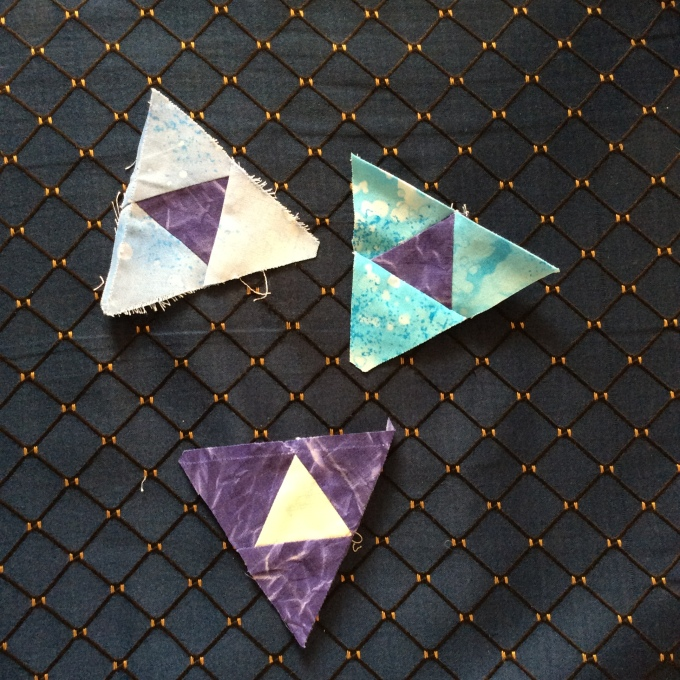 The pieced centre triangle templates from the Dusk block