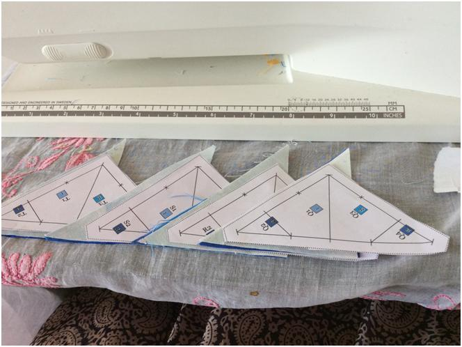Templates Q, R, S and T ready for piecing...