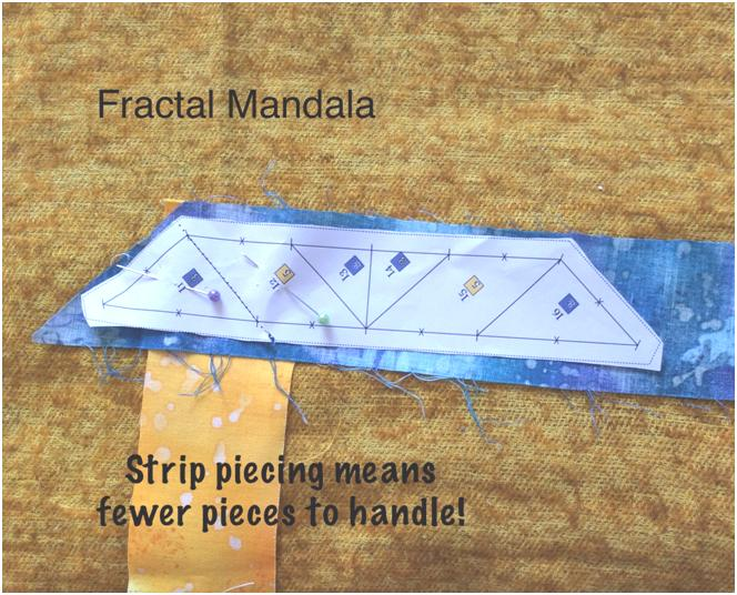 Place the strip for the diiamond at right angles to the previous strip and sew on seam line