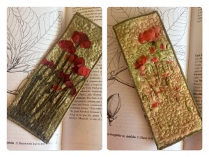 Quited fabric Bookmark -raw edge applique -red poppy field