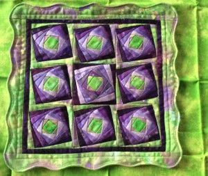 Wonky Log Cabin Mini Quilt Irises