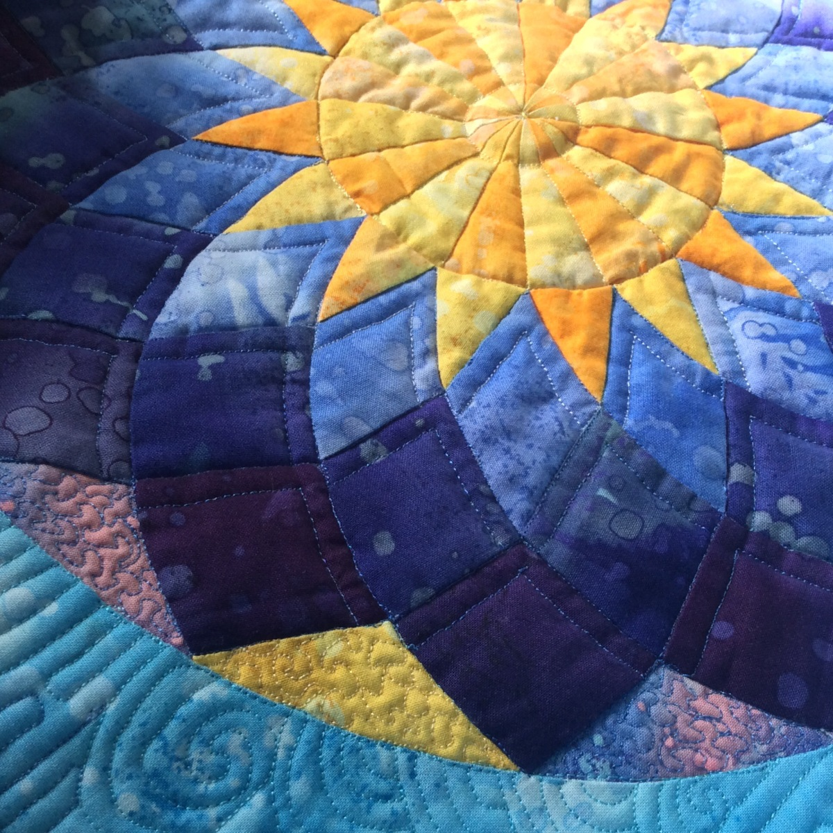 "Dahlia – ""Dreamcatcher Dusk Round The Year"" Block of the Month Quilt – Block One"