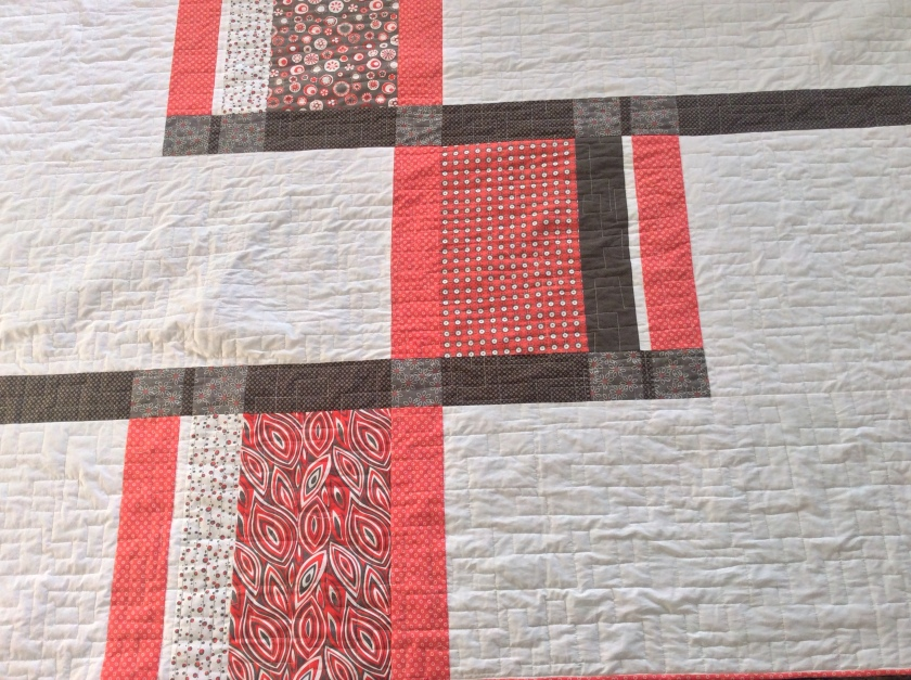 The red and dark brown strip fabrics are from my stash.